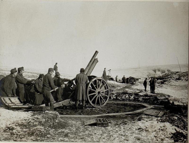 Abwehrbatterie12 in Feuerstellung, nordöstlich Meierhof Hodow,11.1.1917