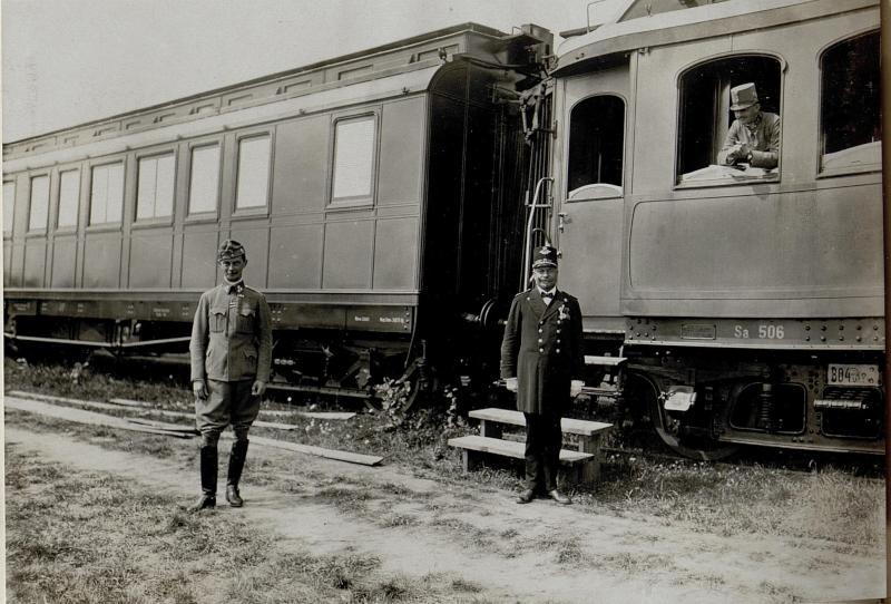 Abfahrt des Hofzuges aus der Zuckerfabrik Chodoriw am 25.8.1916