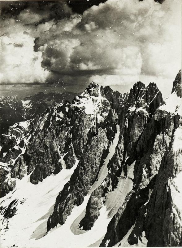 Standpunkt Rotwandspitze: Panorama  von Kreuzbergsattel bis Demuet. Fortsetzung von Rotwand gegen Süden. (5.Teilbild zu  WK1_ALB15_04036a).)