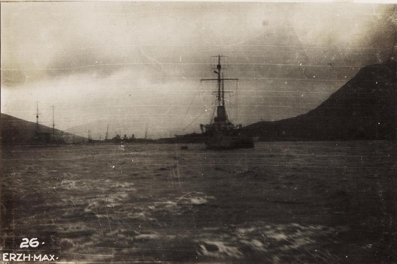 Albanienreise Erzherzog Max, Kriegsschiffe in der Bocce di Cattaro.