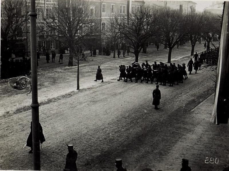 Bruneck, Kaiserjägerfeier am 16.1.1916. Defilierung.
