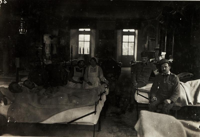 Krankensaal im Schloss Ranziano, Feldspital 7/8, 4.3.1916.