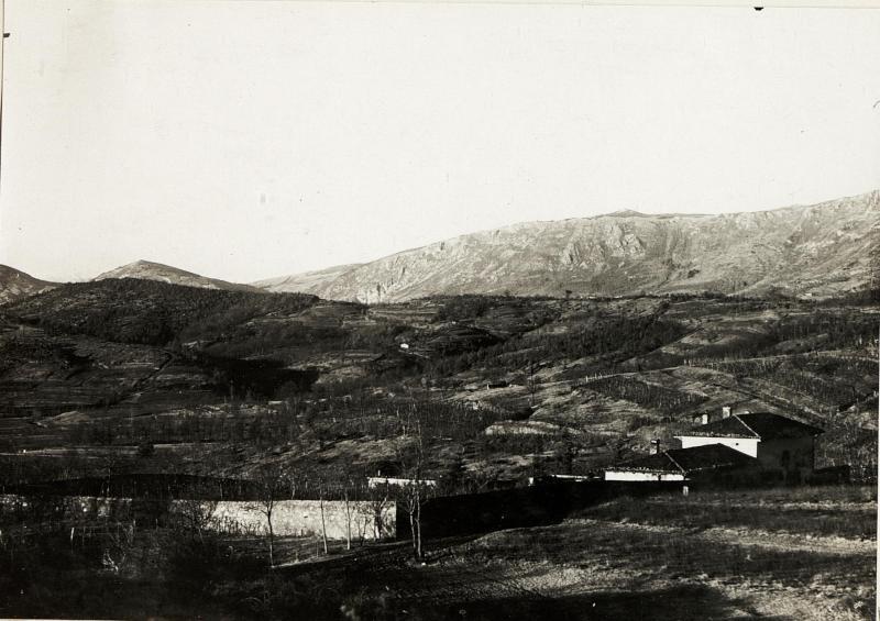 Abteilungsgebäude in Zalosce nächst Dornberg, mit Ternovanerwald im Hintergrund 9.1.1916.