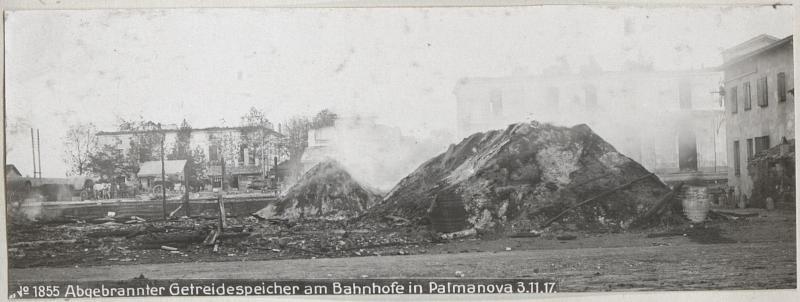 Abgebrannter Getreidespeicher am Bahnhofe in Palmanova 3.11.17.