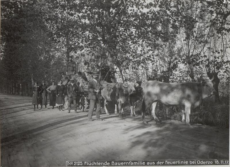 Flüchtende Bauernfamilie aus der Feuerlinie bei Oderzo 18.11.17.