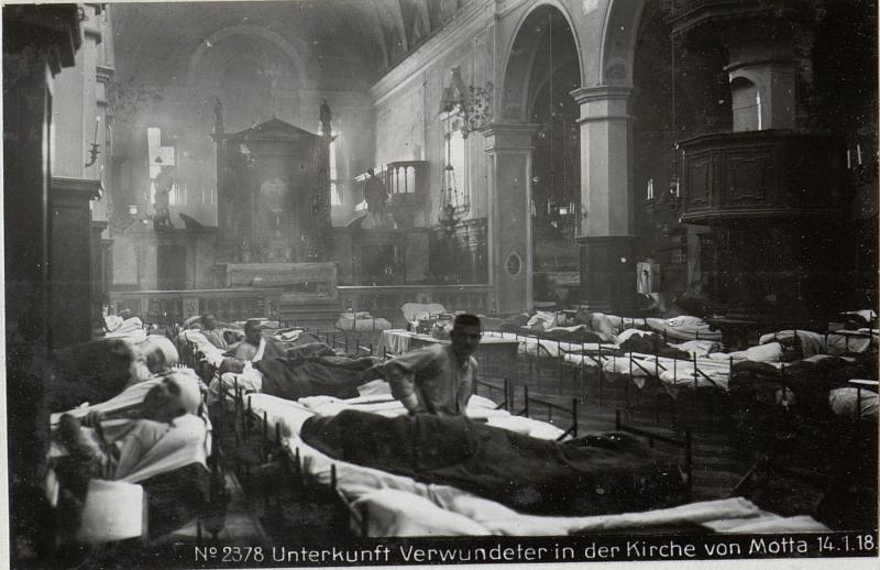 Unterkunft Verwundeter in der Kirche von Motta 14.1.18.
