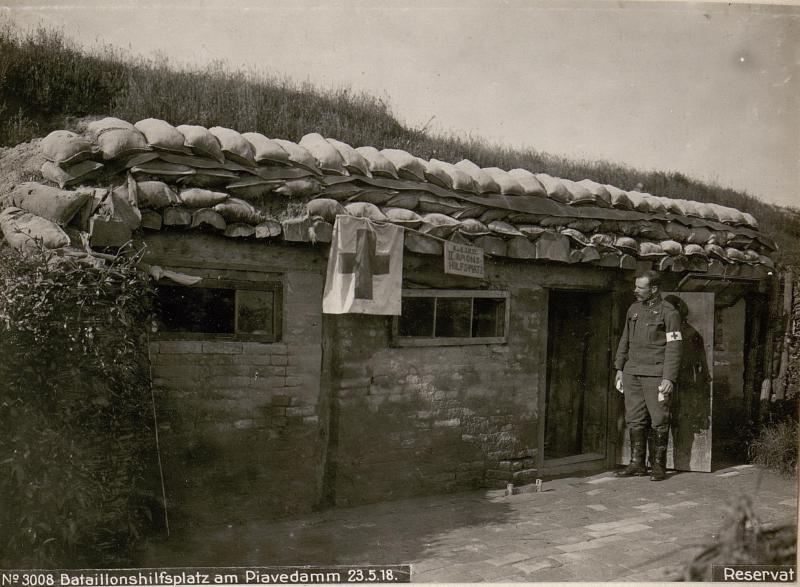 Bataillonshilfsplatz am Piavedamm am 23.5.1918