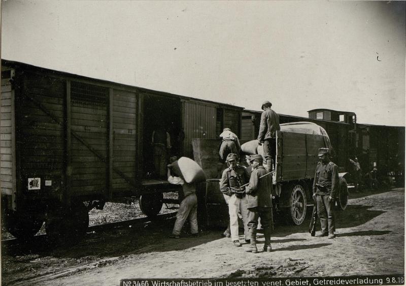 Wirtschaftsbetrieb im besetzten venetischen Gebiet,  Getreideverladung