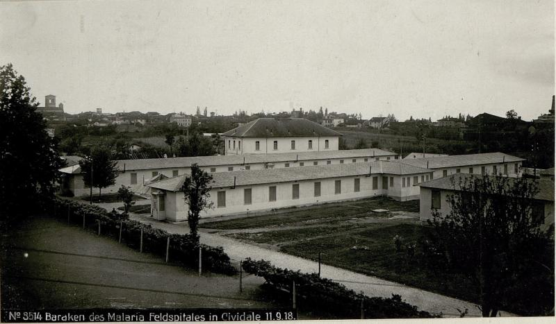 Baracken des Malaria Feldspitales in Cividale