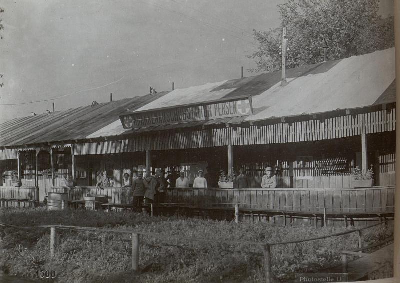 """Krankenabschubstation """"Persen"""" Teilansicht des Hauptgebäudes."""