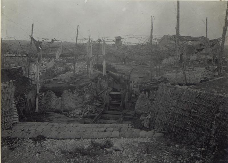 Doberdo-Plateau. Itl.20.5cm Schiffsgeschütz. (Ende April 1918.)