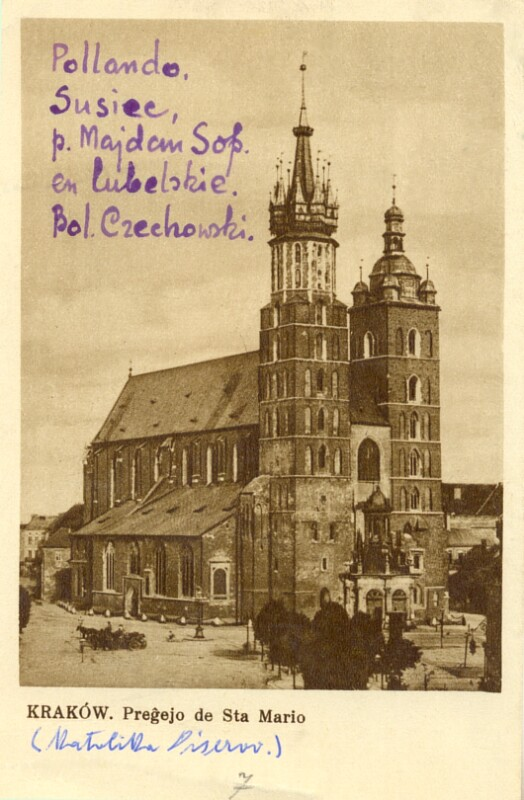 Ansichtskarte: Kraków, Preĝejo de Sta Mario