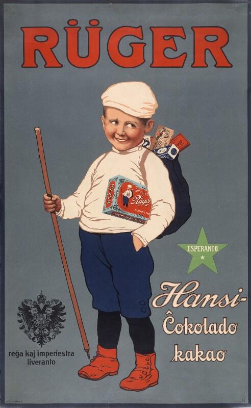Plakat: Rüger Hansi-Ĉokolado, kakao
