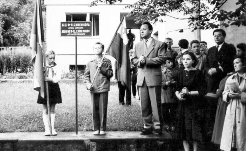 "Wiederbenennung der Zamenhof-Allee ""Alej Dr. L. L. Zamenhofa"", in Lázně Bělohrad 1959"
