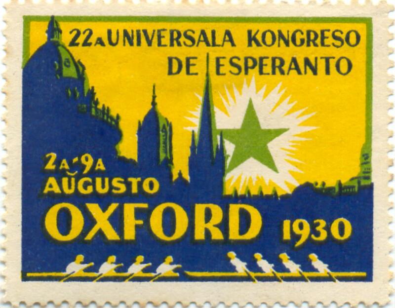 Verschlussmarke: 22a Universala Kongreso de Esperanto, 2a-9a aŭgusto, Oxford 1930
