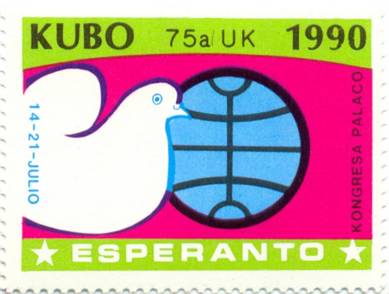 Verschlussmarke: Kubo, 75a UK 1990, 14 - 21 julio, Esperanto