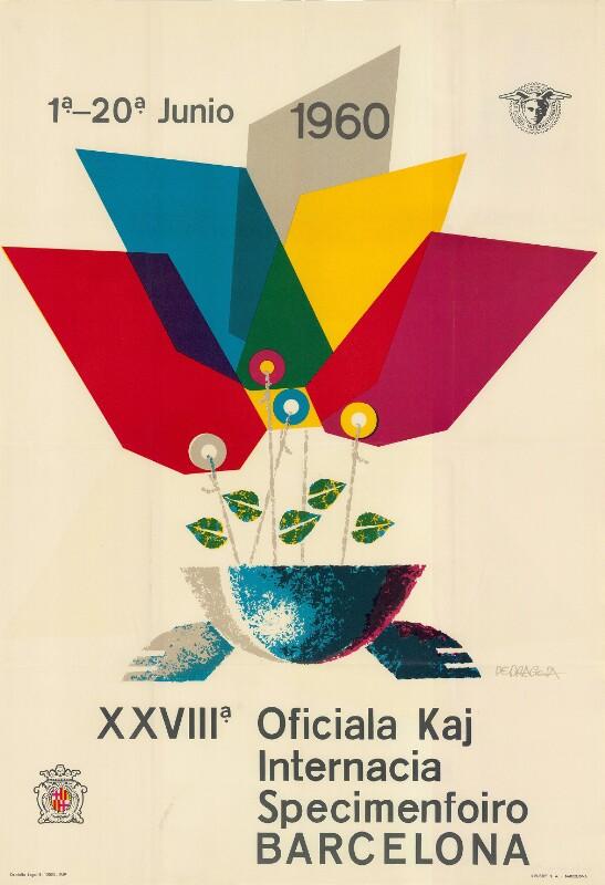 Plakat: XXVIIIa Oficiala kaj Internacia Specimenfoiro Barcelona : 1a-20a junio 1960