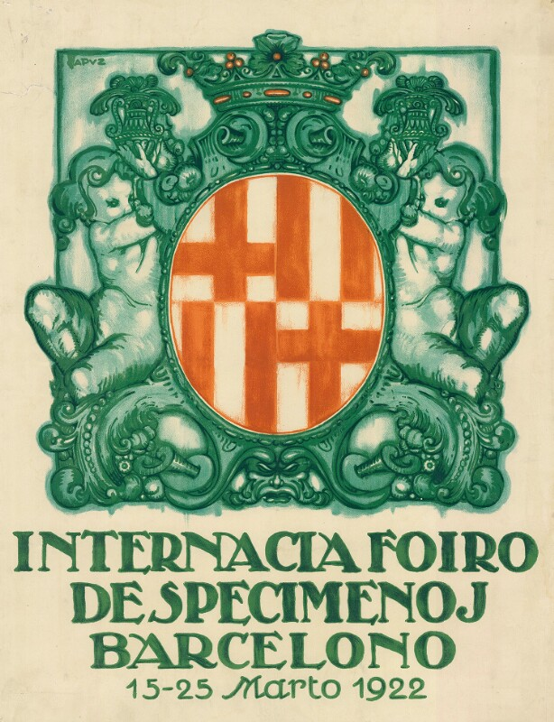 Plakat: Internacia Foiro de Specimenoj Barcelono : 12. - 25. marto 1922