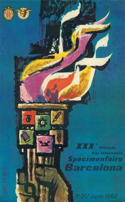 Plakat: XXXa Oficiala kaj Internacia Specimenfoiro Barcelona : 1a - 20a junio 1962