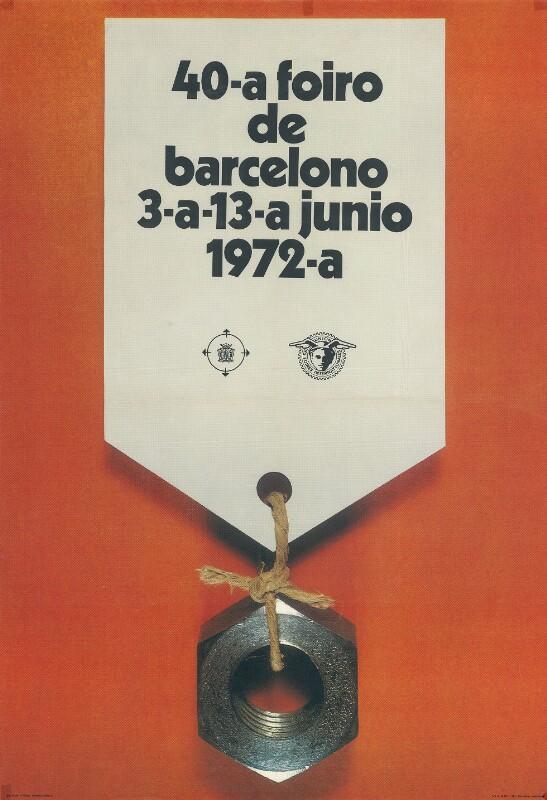 Plakat: 40. Foiro de Barcelono : 3a - 13a junio 1972-a