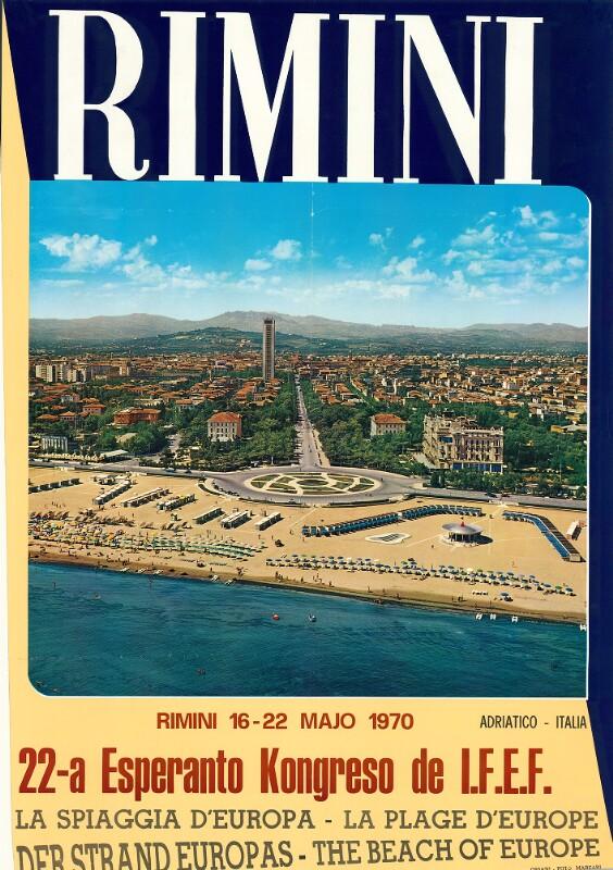 Plakat: Rimini : 22a Esperanto-Kongreso de IFEF; Rimini, 16.-20. majo 1970 ...