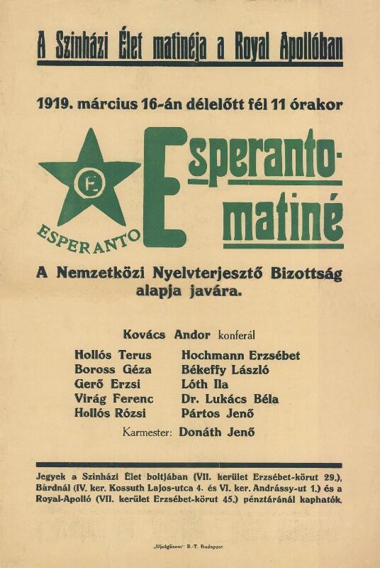Plakat: Esperanto-matiné' a Sinh zi Elet matinéja a Royal Apollóban