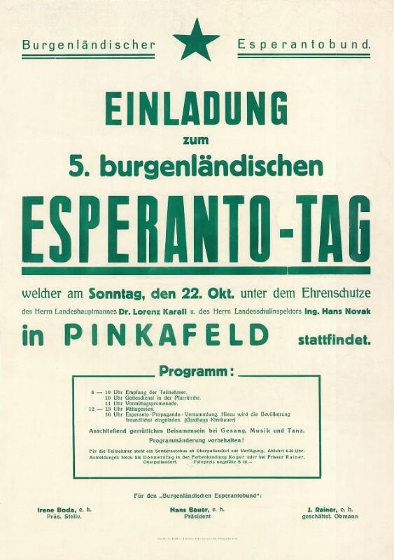 Plakat: Einladung zum 5. burgenländischen Esperanto-Tag, welcher am Sonntag, den 22. Okt. unter dem Ehrenschutze ...