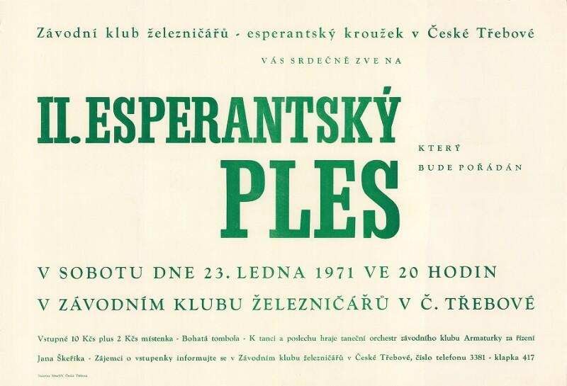 Plakat: II. Esperantsky Ples : ktery bude pořádán