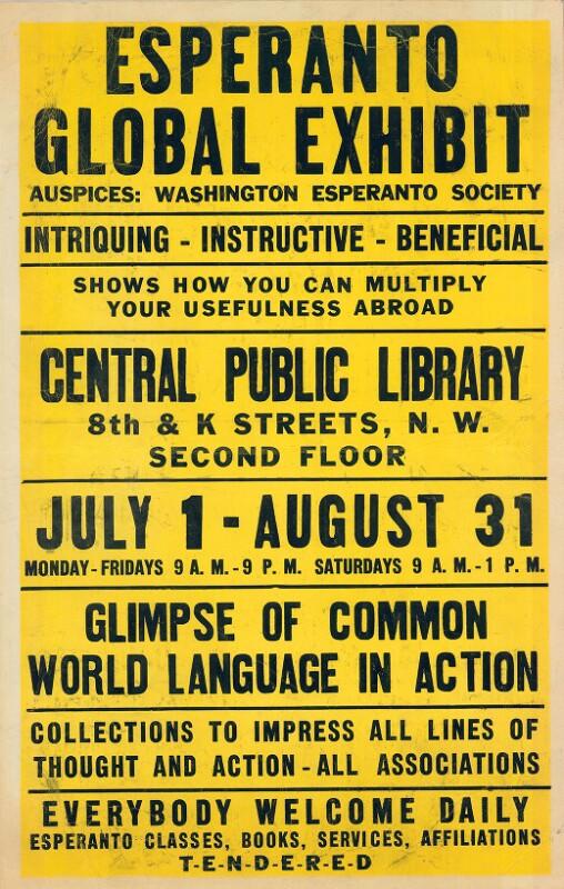 Plakat: Esperanto Global Exhibit : intriquing - instructive - beneficial
