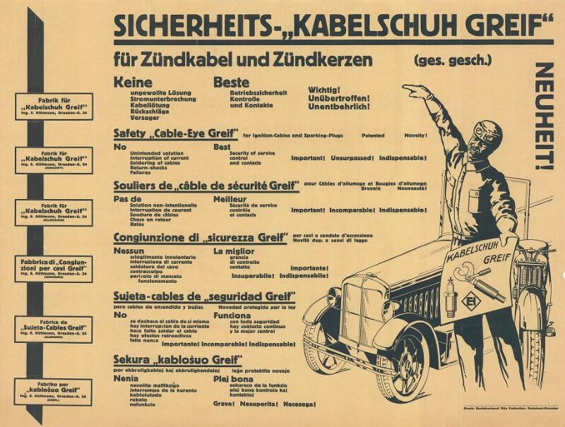 """Plakat: Sicherheits-""""Kabelschuh Greif"""" für Zündkabel und Zündkerzen"""