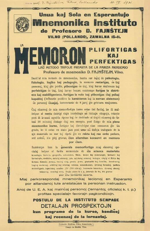 Plakat: Mnemonika Instituto de Profesoro D. Fajnŝtejn : La memoron plifortigas kaj perfektigas ... ; Unua kaj Sola en Esperantujo