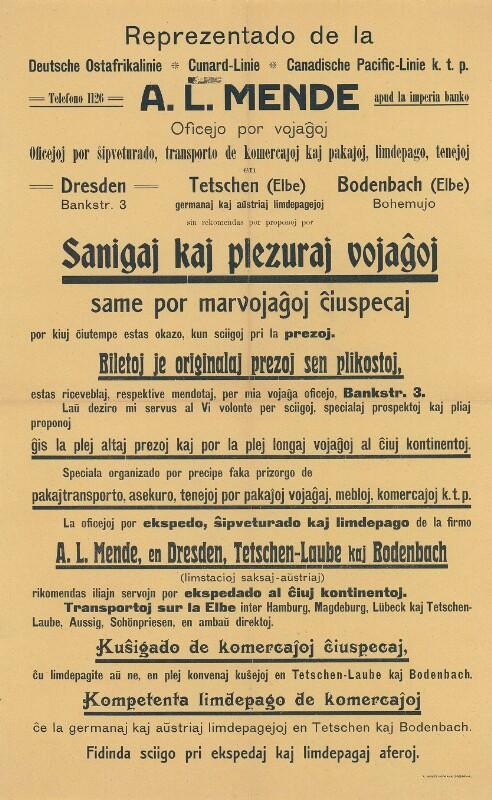 Plakat: Reprezentado de la Deutsche Ostafrikalinie, Cunard-Linie, Canadische Pacific-Linie k.t.p. : A. L. Mende ; Oficejo por vojaĝoj