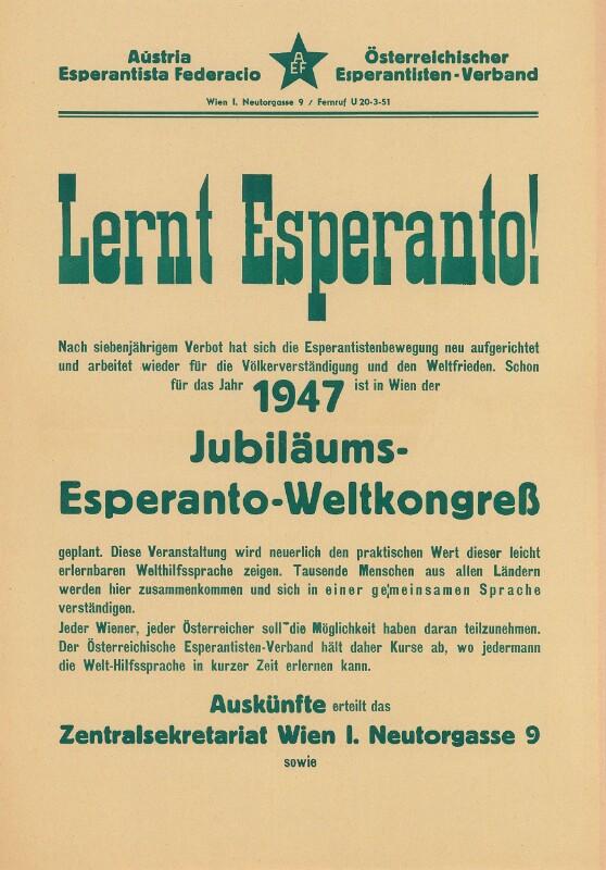 Plakat: Lernt Esperanto! : Jubiläums-Esperanto-Weltkongreß ; Nach siebenjährigem Verbot hat sich die Esperantistenbewegung neu aufgerichtet ...