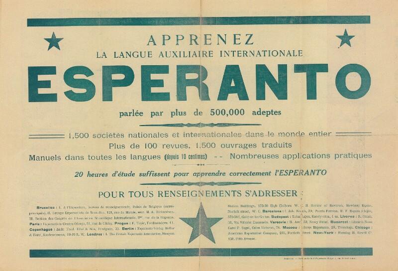 Plakat: Apprenez la langue auxiliaire internationale Esperanto : parlée par plus de 500,000 adeptes ; Plan de l' Exposition Internationale de Bruxelles - Avril-Novembre 1910