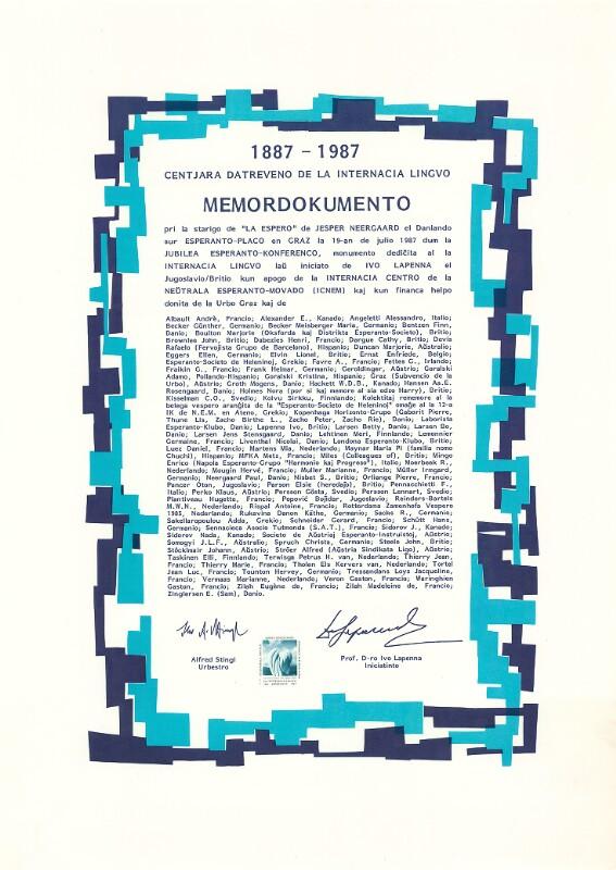 """Plakat: Memordokumento : 1887 - 1987 centjara datreveno de la internacia lingvo ; pri la starigo de """"LA ESPERO"""" de JESPER NEERGAARD el Danlando ..."""