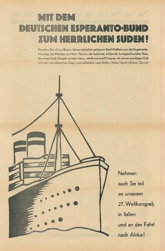 Plakat: Mit dem Deutschen Esperanto-Bund zum herrlichen Süden!