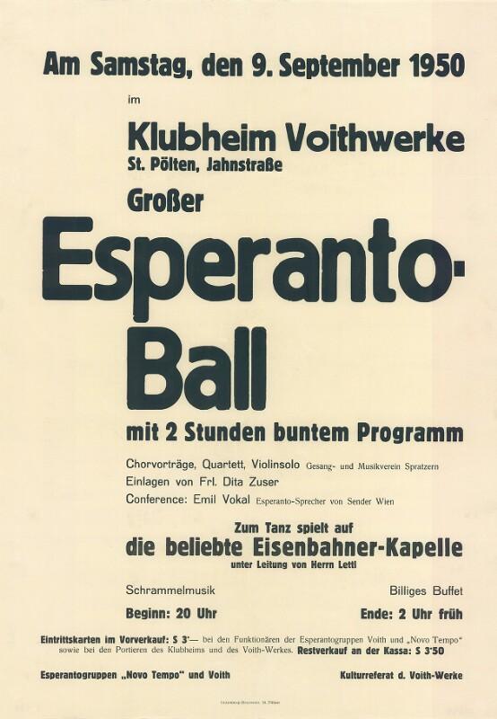 Plakat: Großer Esperanto-Ball mit 2 Stunden buntem Programm