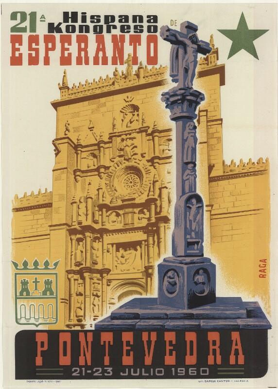Plakat: 21-a Hispana Kongreso de Esperanto, Pontevedra, 21 - 23 julio 1960