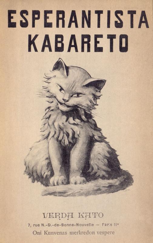 """Ansichtskarte: Esperantista kabareto """"Verda Kato"""""""