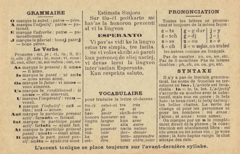 Postkarte: Estimata sinjoro, sur tiu-ĉi poŝtkarto mi hav'as la honoron prezenti al vi la lingvon Esperanto