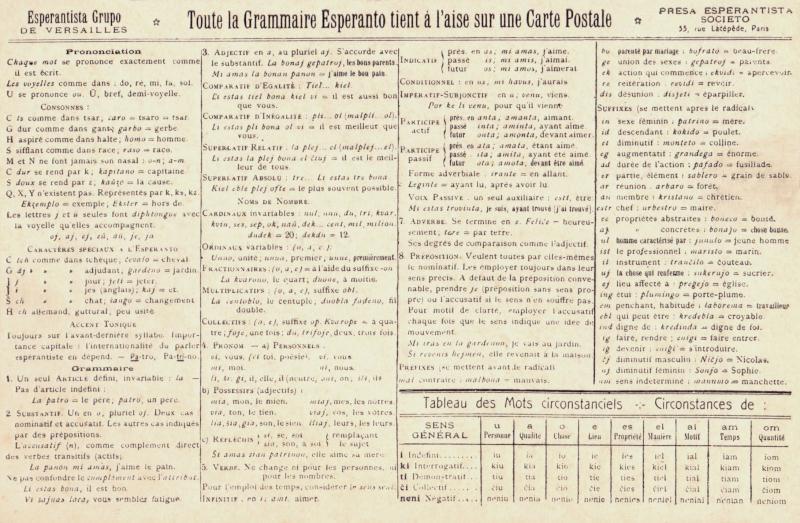 Postkarte: Toute la grammaire Espéranto tient à l'aise sur une carte postale