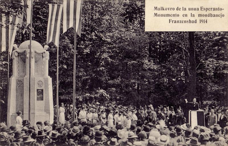 Ansichtskarte: Malkovro de la unua Esperanto-monumento en la mondbanejo Franzensbad 1914