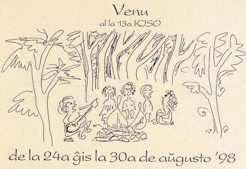 Ansichtskarte: Venu al la 13a KISO de la 24a ĝis la 30a de aŭgusto '98
