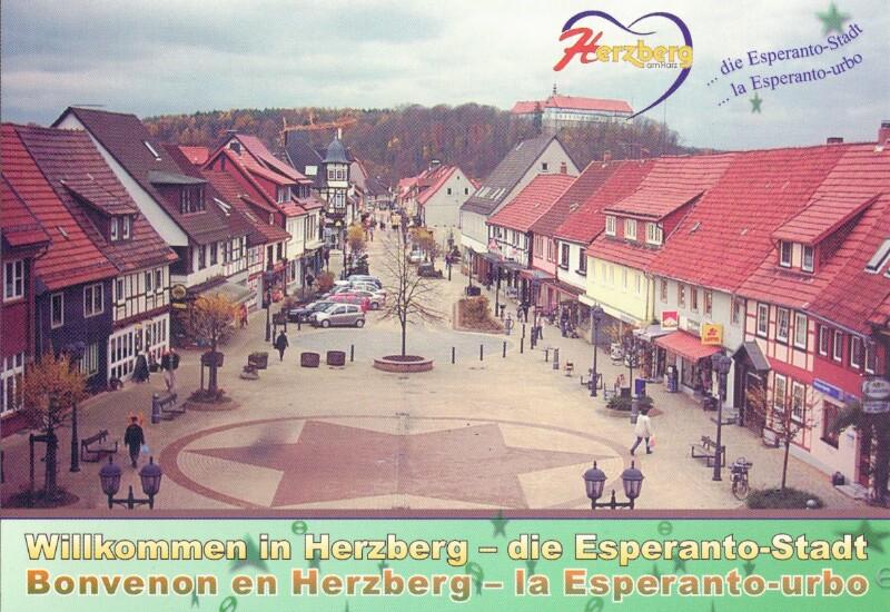 Ansichtskarte: Willkommen in Herzberg - die Esperanto-Stadt