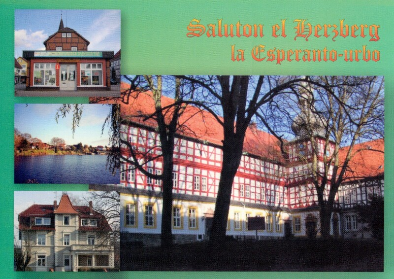 Ansichtskarte: Saluton el Herzberg, la Esperanto-urbo