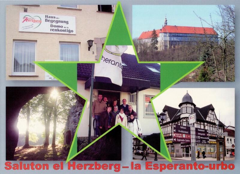Ansichtskarte: Saluton el Herzberg - la Esperanto-urbo