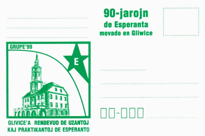 Postkarte: 90 jarojn de Esperanta movado en Gliwice