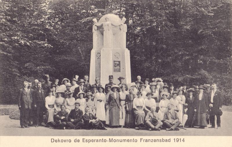 Ansichtskarte: Dekovro de Esperanto-monumento Franzensbad 1914
