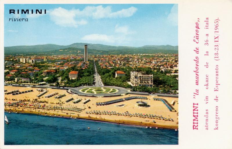 """Ansichtskarte: Rimini """"la marbordo de Eŭropo"""" atendas vin okaze de la 36-a Itala Kongreso de Esperanto (18-23/IX/1965)"""