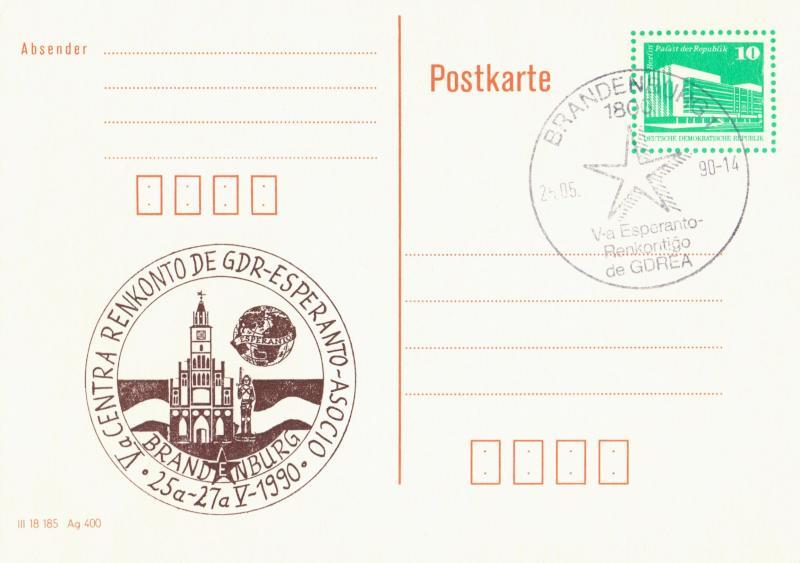 Bildpostkarte: Va Centra Renkonto de GDR-Esperanto-Asocio, 25a-27a.V.1990